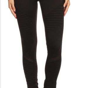 Pants - Black Moto Mesh Workout Leggings